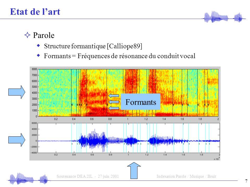 7 Soutenance DEA 2IL - 27 juin 2001Indexation Parole / Musique / Bruit Etat de lart Parole Structure formantique [Calliope89] Formants = Fréquences de résonance du conduit vocal Formants