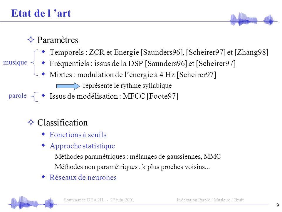 9 Soutenance DEA 2IL - 27 juin 2001Indexation Parole / Musique / Bruit Etat de l art Paramètres Temporels : ZCR et Energie [Saunders96], [Scheirer97] et [Zhang98] Fréquentiels : issus de la DSP [Saunders96] et [Scheirer97] Mixtes : modulation de lénergie à 4 Hz [Scheirer97] représente le rythme syllabique Issus de modélisation : MFCC [Foote97] Classification Fonctions à seuils Approche statistique Méthodes paramétriques : mélanges de gaussiennes, MMC Méthodes non paramétriques : k plus proches voisins...