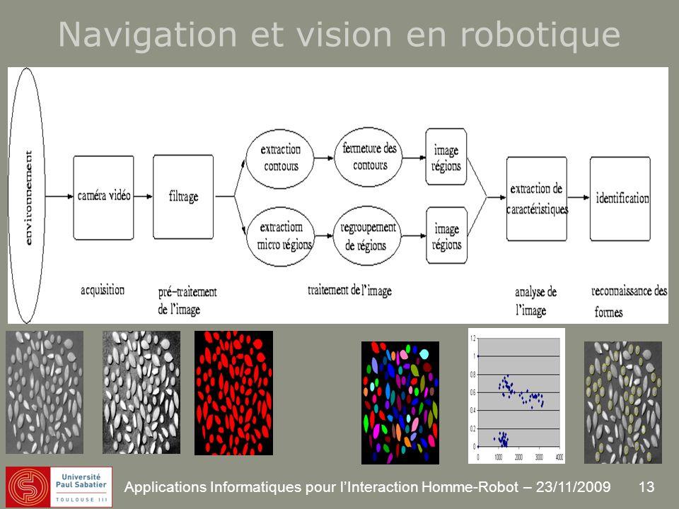 13 Applications Informatiques pour lInteraction Homme-Robot – 23/11/2009 Navigation et vision en robotique