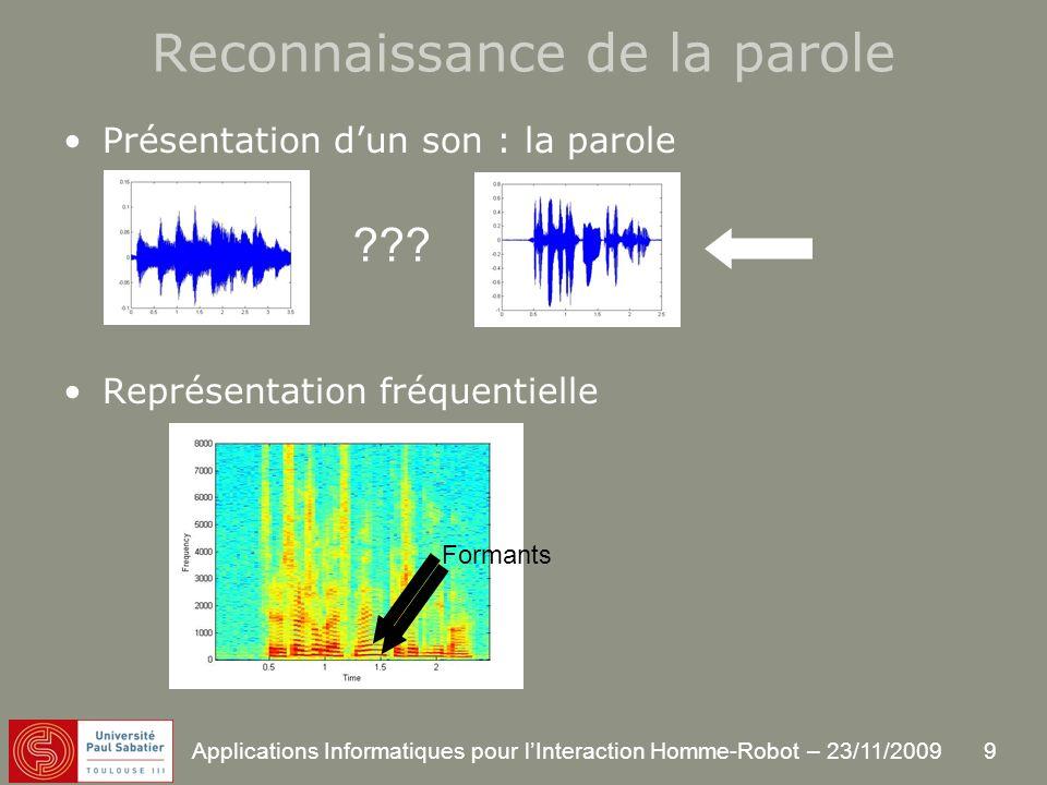 9 Applications Informatiques pour lInteraction Homme-Robot – 23/11/2009 Reconnaissance de la parole Présentation dun son : la parole Représentation fréquentielle ??.