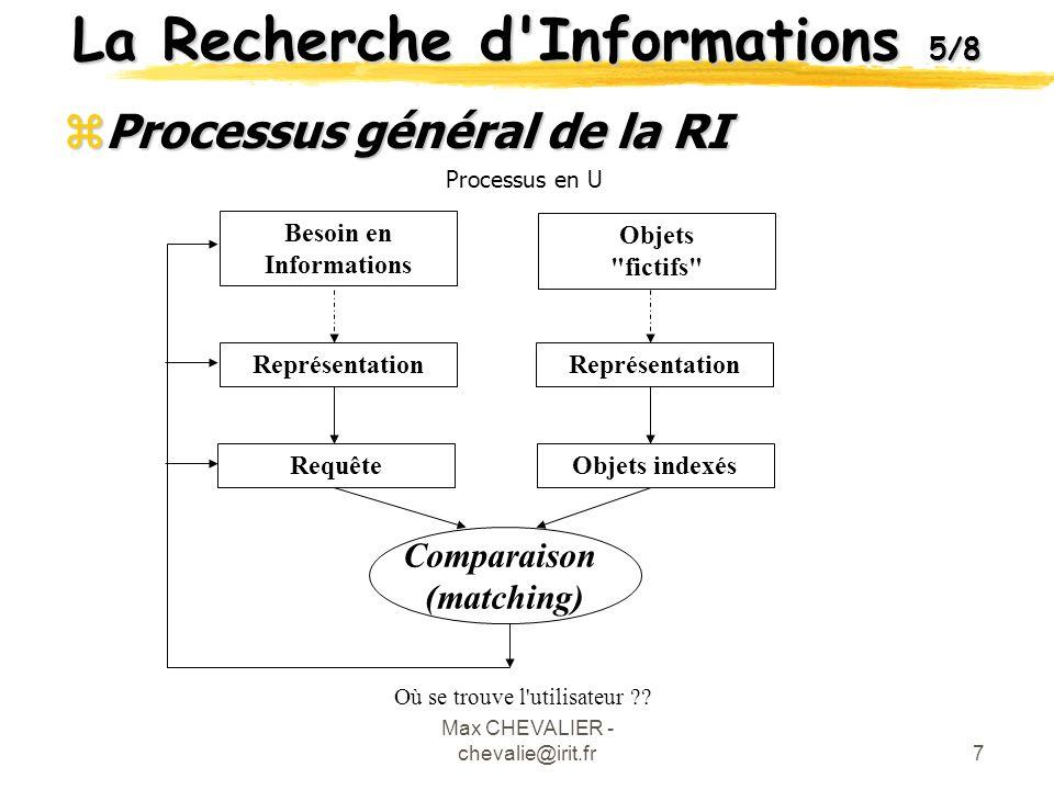 Max CHEVALIER - chevalie@irit.fr8 La Recherche d Informations 6/8 zLes modèles dans la RI xBases théoriques pour calculer la réponse à une requête.