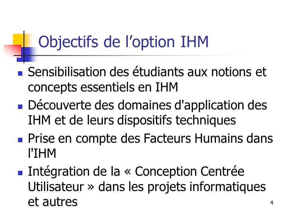 4 Objectifs de loption IHM Sensibilisation des étudiants aux notions et concepts essentiels en IHM Découverte des domaines d'application des IHM et de
