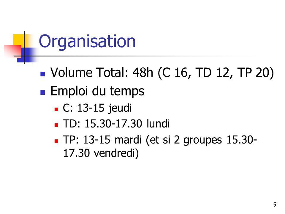 5 Organisation Volume Total: 48h (C 16, TD 12, TP 20) Emploi du temps C: 13-15 jeudi TD: 15.30-17.30 lundi TP: 13-15 mardi (et si 2 groupes 15.30- 17.