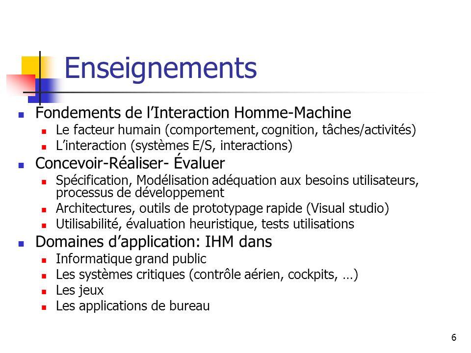 6 Enseignements Fondements de lInteraction Homme-Machine Le facteur humain (comportement, cognition, tâches/activités) Linteraction (systèmes E/S, int