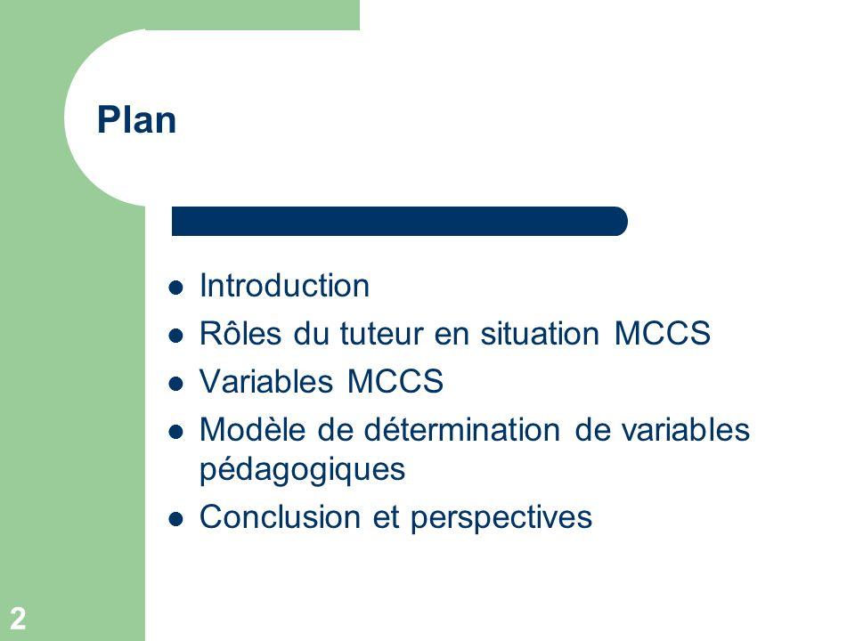 2 Plan Introduction Rôles du tuteur en situation MCCS Variables MCCS Modèle de détermination de variables pédagogiques Conclusion et perspectives