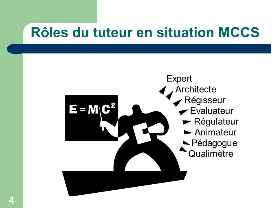 4 Rôles du tuteur en situation MCCS Expert Architecte Régisseur Evaluateur Régulateur Animateur Pédagogue Qualimètre