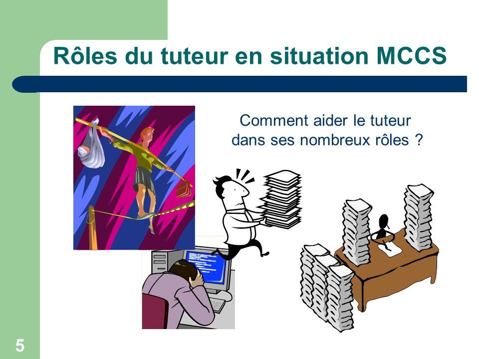 5 Rôles du tuteur en situation MCCS Comment aider le tuteur dans ses nombreux rôles