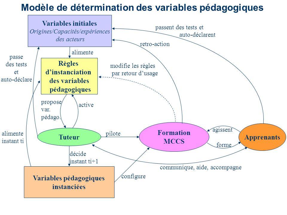 Variables initiales Origines/Capacités/expériences des acteurs Variables pédagogiques instanciées décide instant ti+1 active propose var.