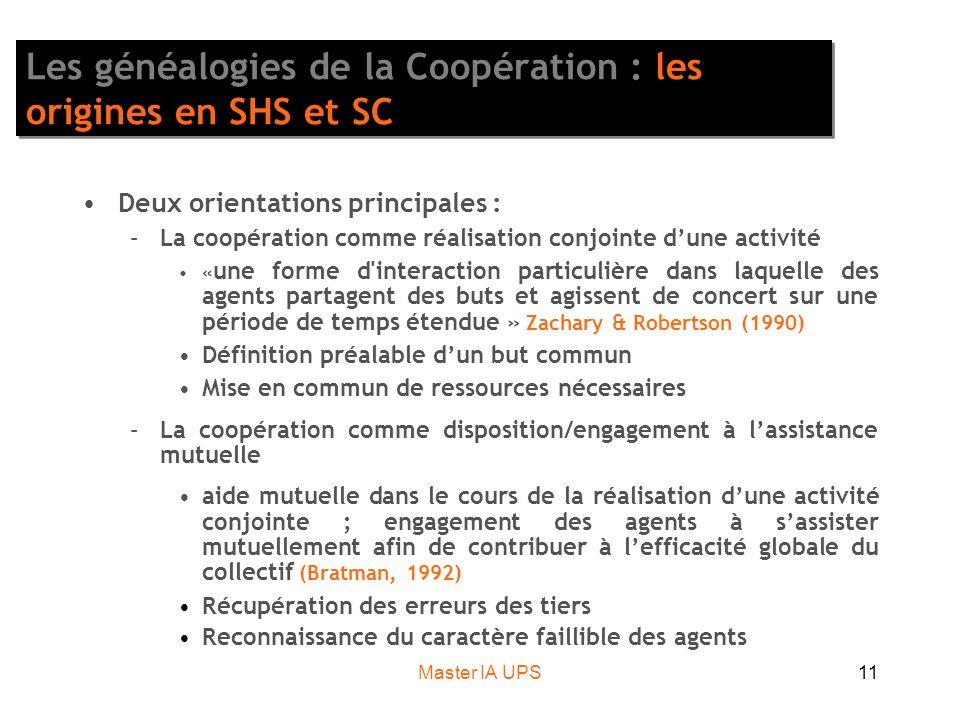 Master IA UPS11 Les généalogies de la Coopération : les origines en SHS et SC Deux orientations principales : –La coopération comme réalisation conjoi