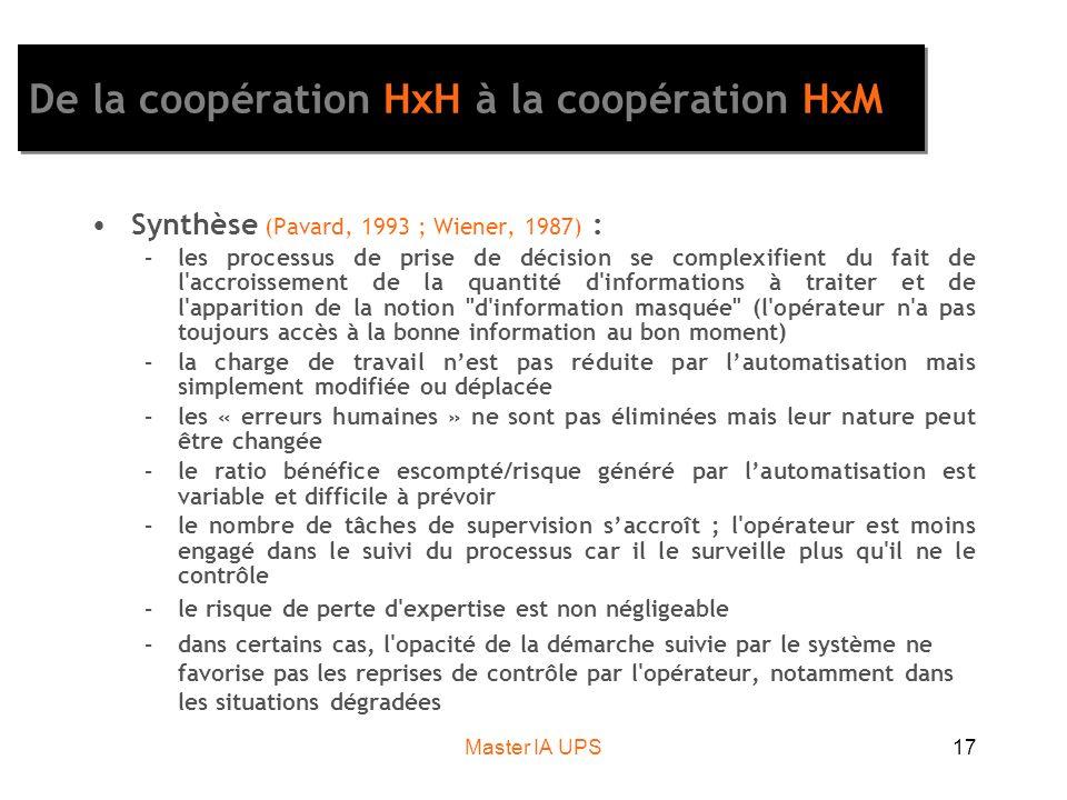 Master IA UPS17 De la coopération HxH à la coopération HxM Synthèse (Pavard, 1993 ; Wiener, 1987) : –les processus de prise de décision se complexifie