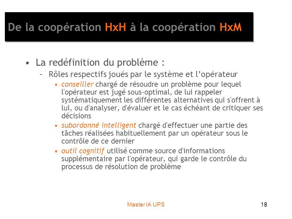 Master IA UPS18 De la coopération HxH à la coopération HxM La redéfinition du problème : –Rôles respectifs joués par le système et lopérateur conseill