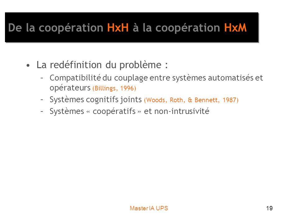 Master IA UPS19 De la coopération HxH à la coopération HxM La redéfinition du problème : –Compatibilité du couplage entre systèmes automatisés et opér