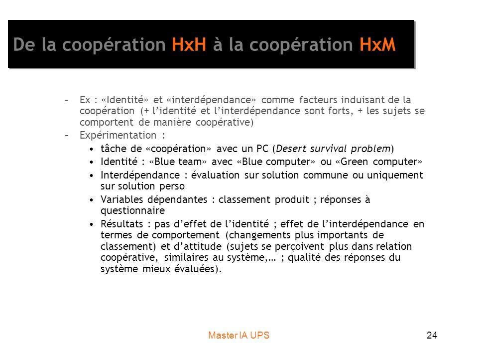 Master IA UPS24 De la coopération HxH à la coopération HxM –Ex : «Identité» et «interdépendance» comme facteurs induisant de la coopération (+ lidentité et linterdépendance sont forts, + les sujets se comportent de manière coopérative) –Expérimentation : tâche de «coopération» avec un PC (Desert survival problem) Identité : «Blue team» avec «Blue computer» ou «Green computer» Interdépendance : évaluation sur solution commune ou uniquement sur solution perso Variables dépendantes : classement produit ; réponses à questionnaire Résultats : pas deffet de lidentité ; effet de linterdépendance en termes de comportement (changements plus importants de classement) et dattitude (sujets se perçoivent plus dans relation coopérative, similaires au système,… ; qualité des réponses du système mieux évaluées).