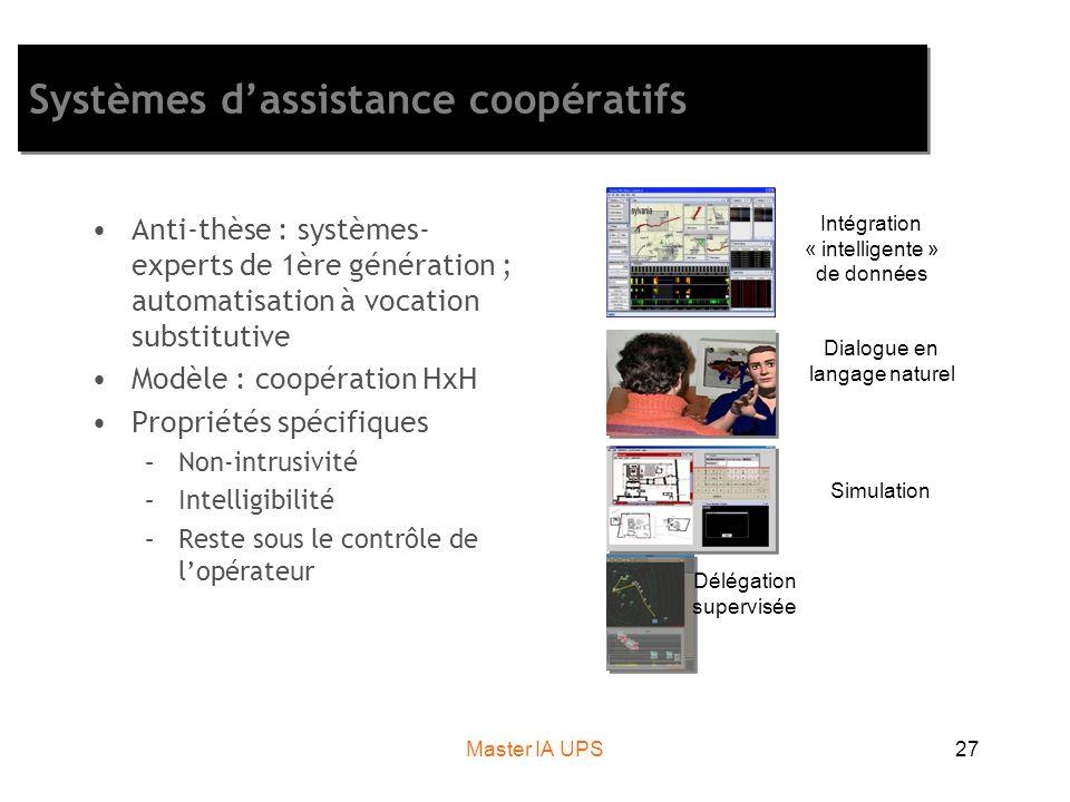 Master IA UPS27 Systèmes dassistance coopératifs Anti-thèse : systèmes- experts de 1ère génération ; automatisation à vocation substitutive Modèle : c