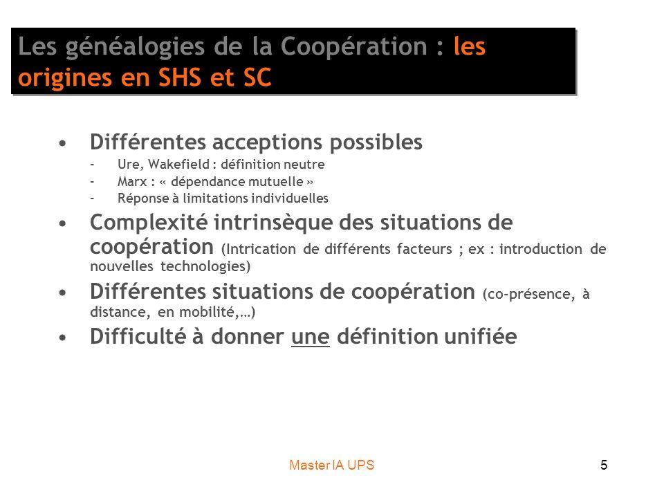 Master IA UPS5 Les généalogies de la Coopération : les origines en SHS et SC Différentes acceptions possibles –Ure, Wakefield : définition neutre –Mar