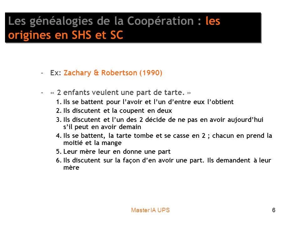 Master IA UPS6 Les généalogies de la Coopération : les origines en SHS et SC –Ex: Zachary & Robertson (1990) –« 2 enfants veulent une part de tarte. »