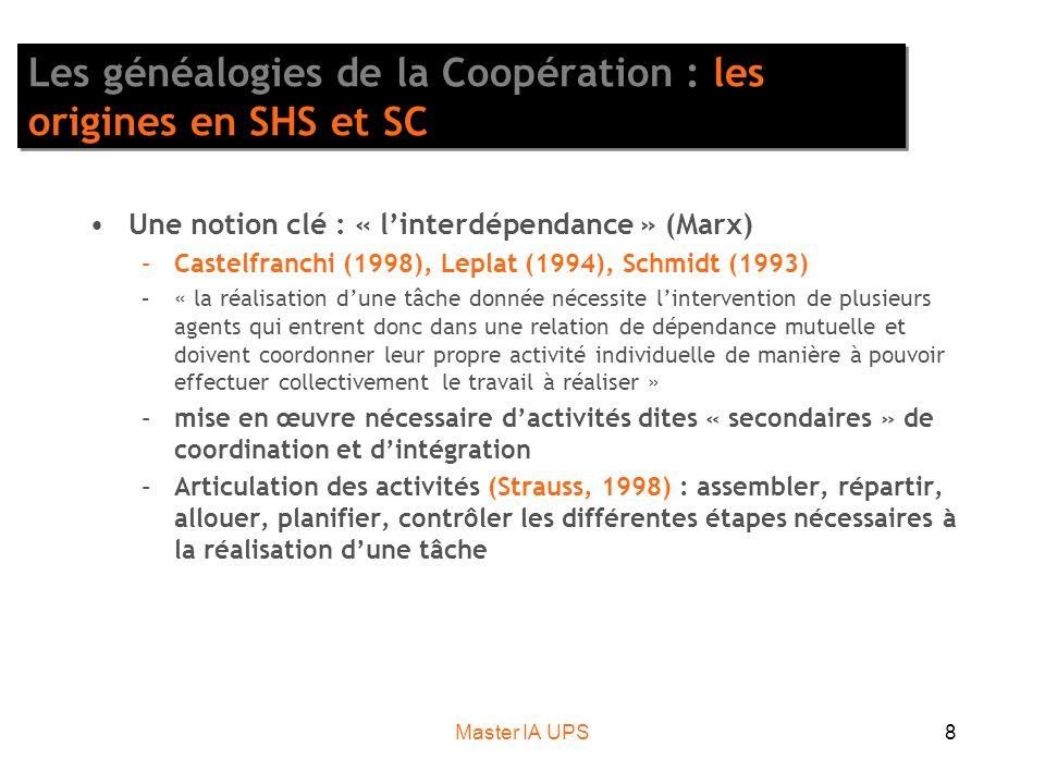 Master IA UPS8 Les généalogies de la Coopération : les origines en SHS et SC Une notion clé : « linterdépendance » (Marx) –Castelfranchi (1998), Leplat (1994), Schmidt (1993) –« la réalisation dune tâche donnée nécessite lintervention de plusieurs agents qui entrent donc dans une relation de dépendance mutuelle et doivent coordonner leur propre activité individuelle de manière à pouvoir effectuer collectivement le travail à réaliser » –mise en œuvre nécessaire dactivités dites « secondaires » de coordination et dintégration –Articulation des activités (Strauss, 1998) : assembler, répartir, allouer, planifier, contrôler les différentes étapes nécessaires à la réalisation dune tâche