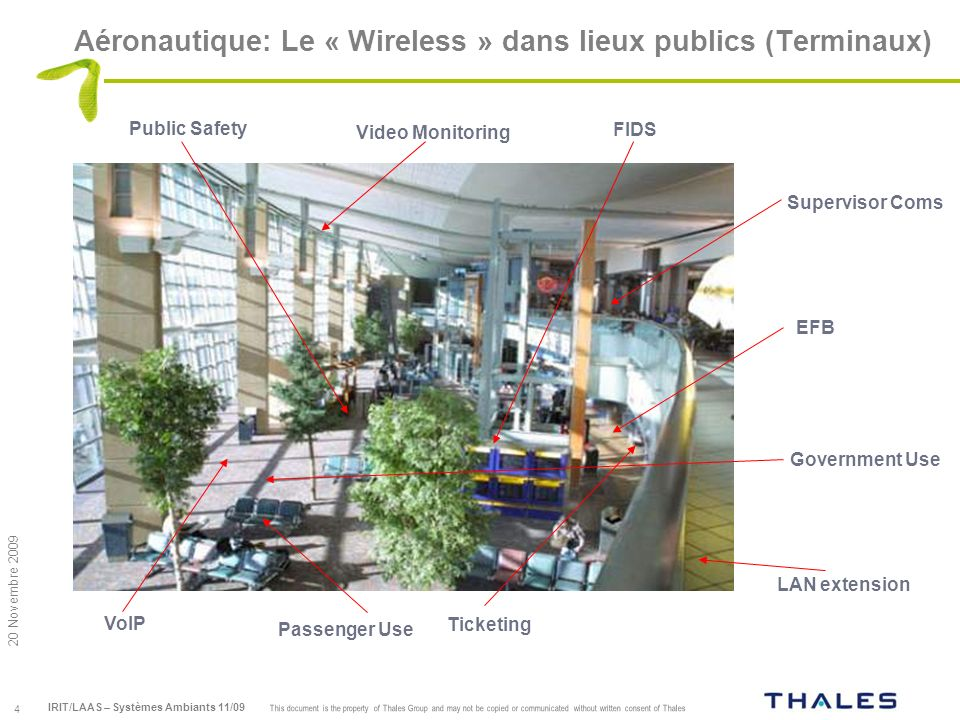 5 This document is the property of Thales Group and may not be copied or communicated without written consent of Thales 20 Novembre 2009 IRIT/LAAS – Systèmes Ambiants 11/09 Aéronautique: Le Wireless a bord (an enabler…) Fueling Gatelink MRO EFB Deicing Baggage and Cargo Cabin Service Customs, CATSA
