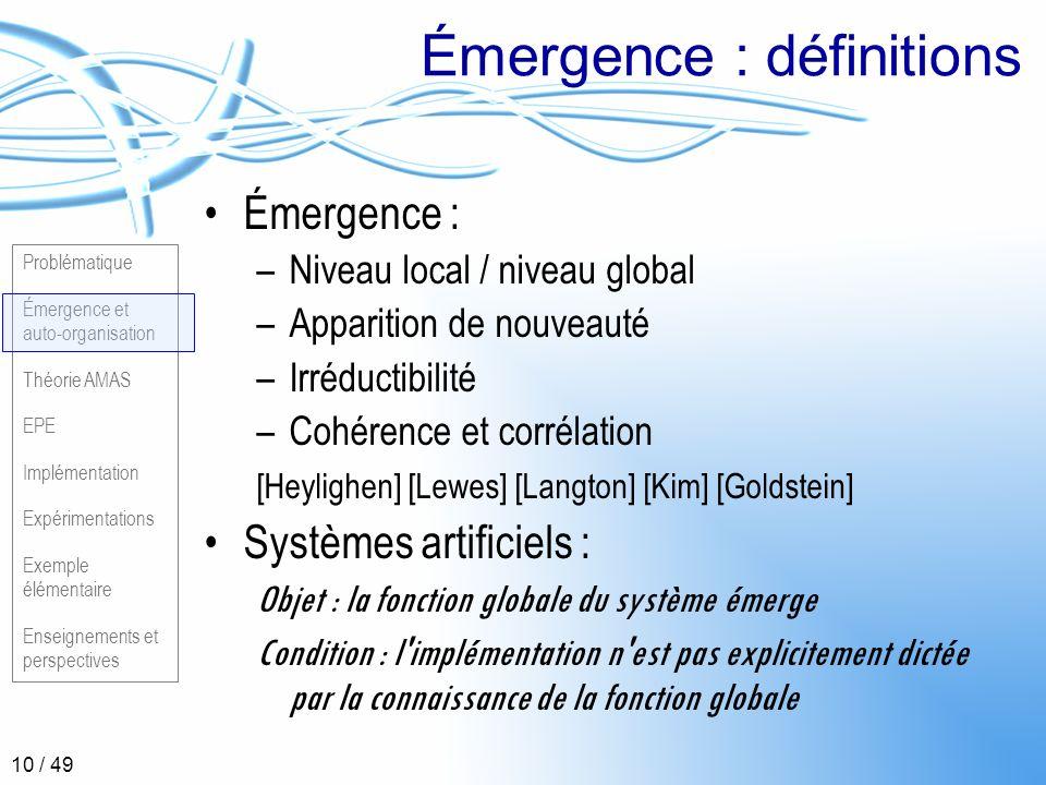 Problématique Émergence et auto-organisation Théorie AMAS EPE Implémentation Expérimentations Exemple élémentaire Enseignements et perspectives 10 / 4