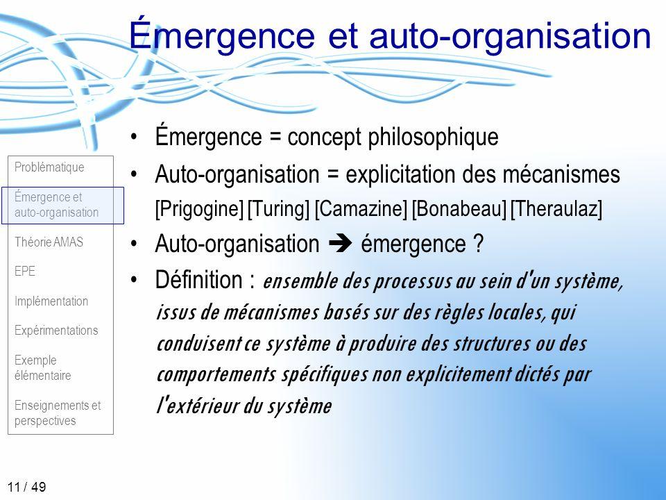 Problématique Émergence et auto-organisation Théorie AMAS EPE Implémentation Expérimentations Exemple élémentaire Enseignements et perspectives 11 / 4