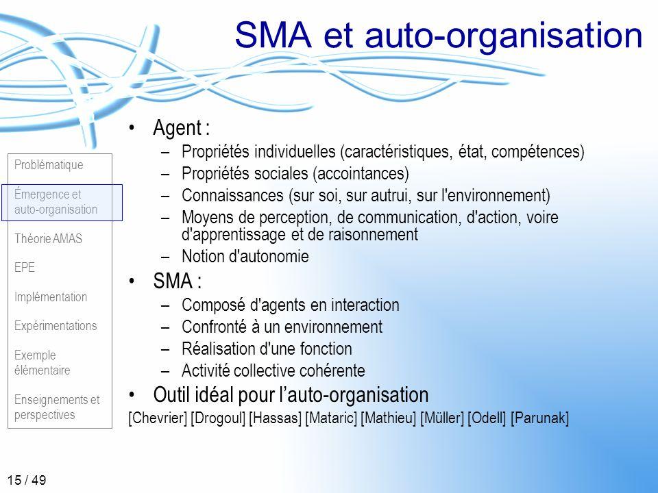 Problématique Émergence et auto-organisation Théorie AMAS EPE Implémentation Expérimentations Exemple élémentaire Enseignements et perspectives 15 / 4