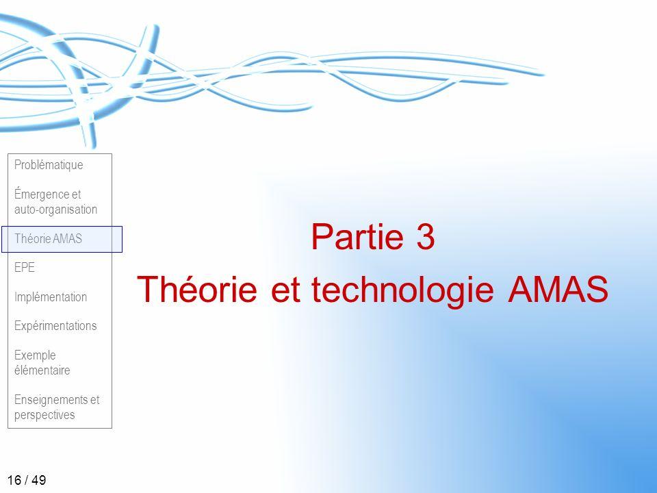 Problématique Émergence et auto-organisation Théorie AMAS EPE Implémentation Expérimentations Exemple élémentaire Enseignements et perspectives 16 / 4