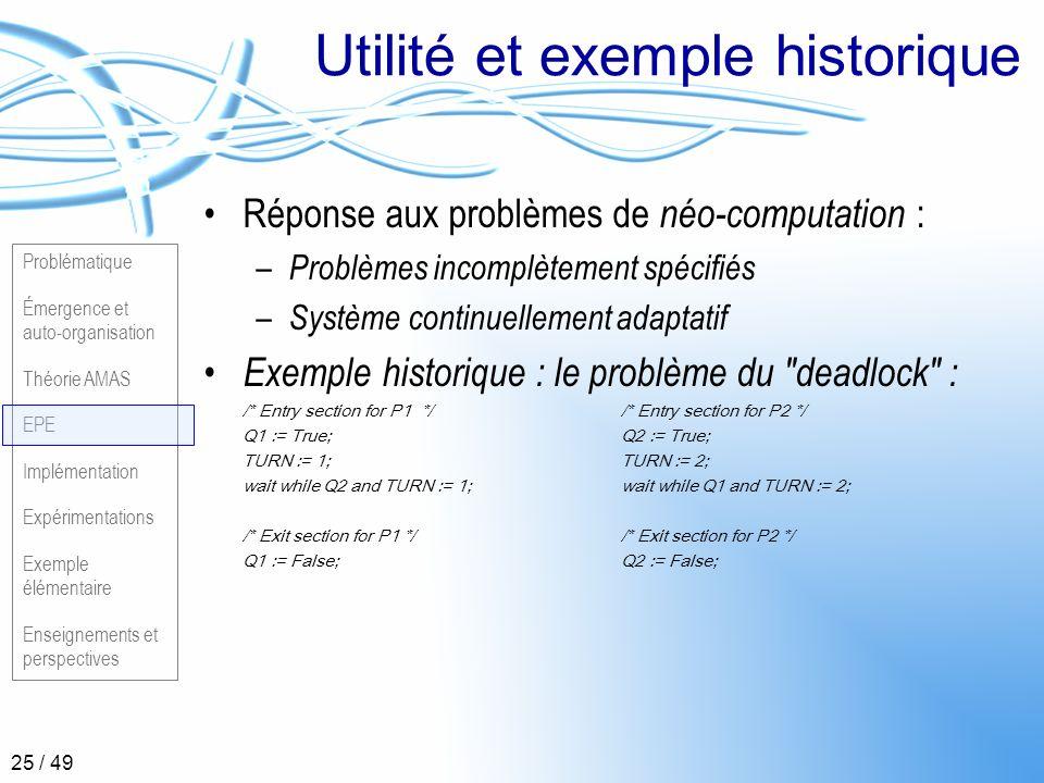 Problématique Émergence et auto-organisation Théorie AMAS EPE Implémentation Expérimentations Exemple élémentaire Enseignements et perspectives 25 / 4