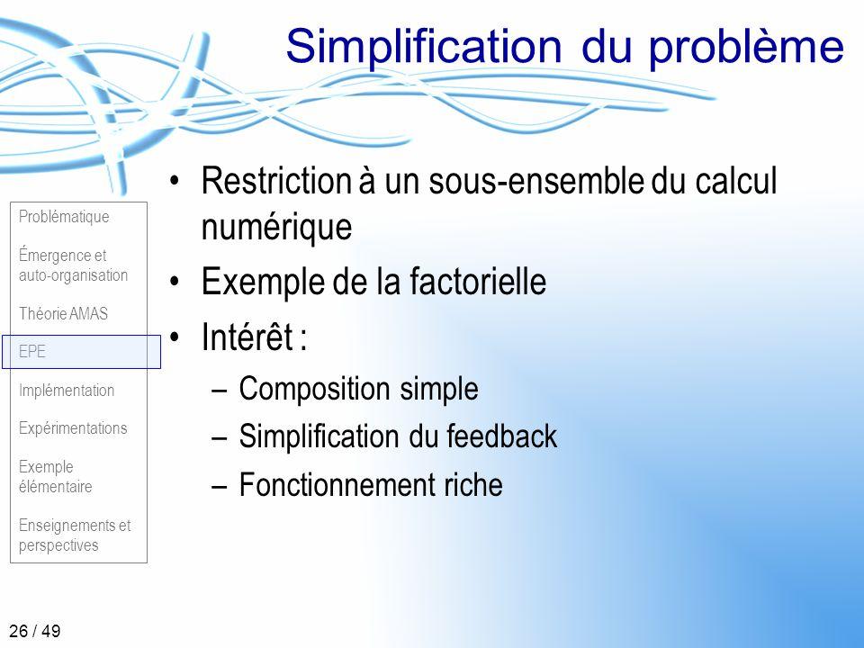 Problématique Émergence et auto-organisation Théorie AMAS EPE Implémentation Expérimentations Exemple élémentaire Enseignements et perspectives 26 / 4