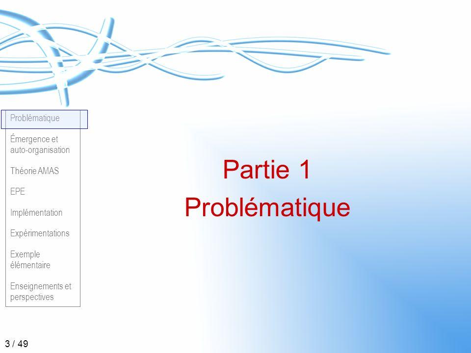 Problématique Émergence et auto-organisation Théorie AMAS EPE Implémentation Expérimentations Exemple élémentaire Enseignements et perspectives 34 / 49 Partie 6 Expérimentation
