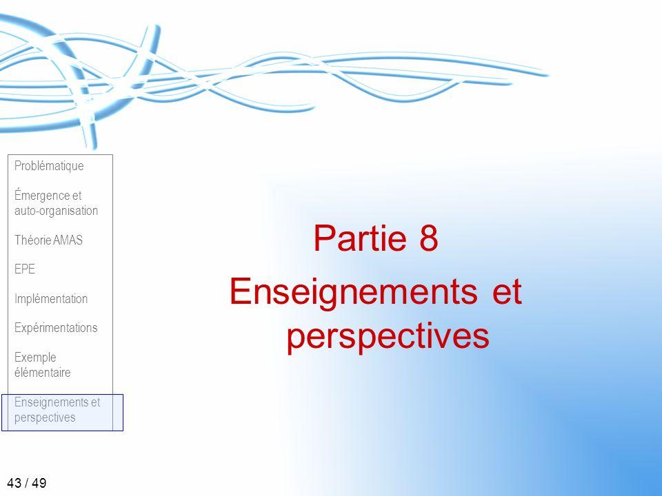Problématique Émergence et auto-organisation Théorie AMAS EPE Implémentation Expérimentations Exemple élémentaire Enseignements et perspectives 43 / 4