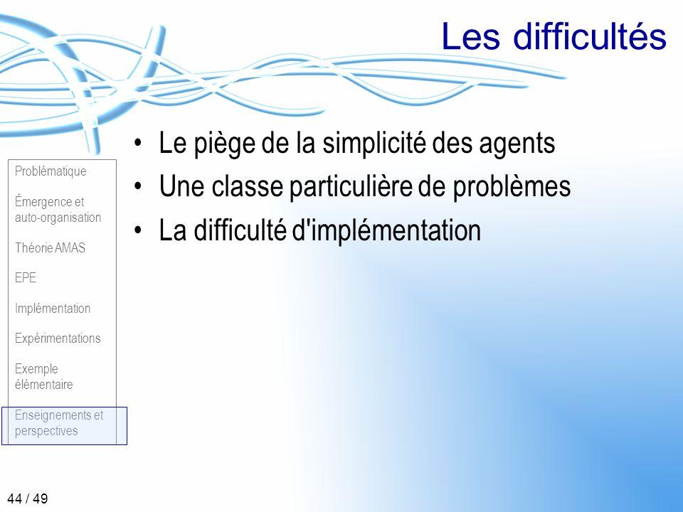 Problématique Émergence et auto-organisation Théorie AMAS EPE Implémentation Expérimentations Exemple élémentaire Enseignements et perspectives 44 / 4