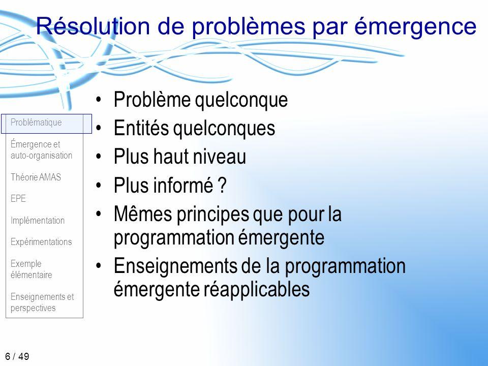 Problématique Émergence et auto-organisation Théorie AMAS EPE Implémentation Expérimentations Exemple élémentaire Enseignements et perspectives 17 / 49 Principe SMA Auto-organisation Mécanismes basés sur la notion de coopération