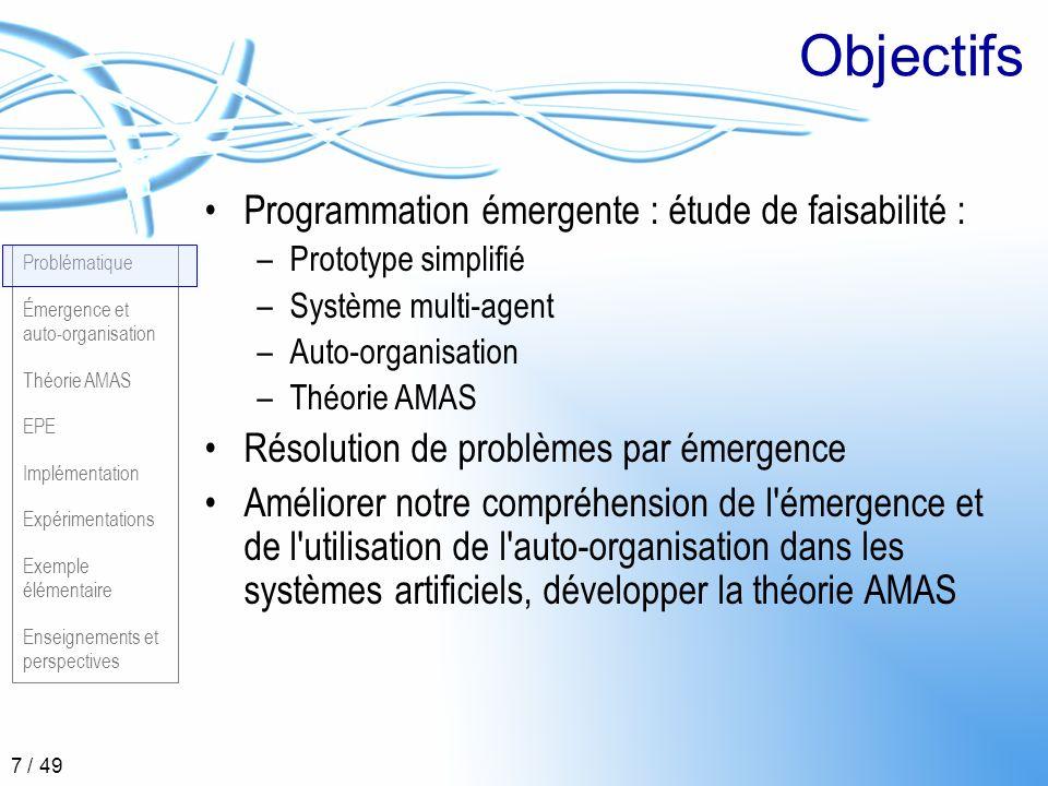 Problématique Émergence et auto-organisation Théorie AMAS EPE Implémentation Expérimentations Exemple élémentaire Enseignements et perspectives 8 / 49 Partie 2 Émergence et auto organisation