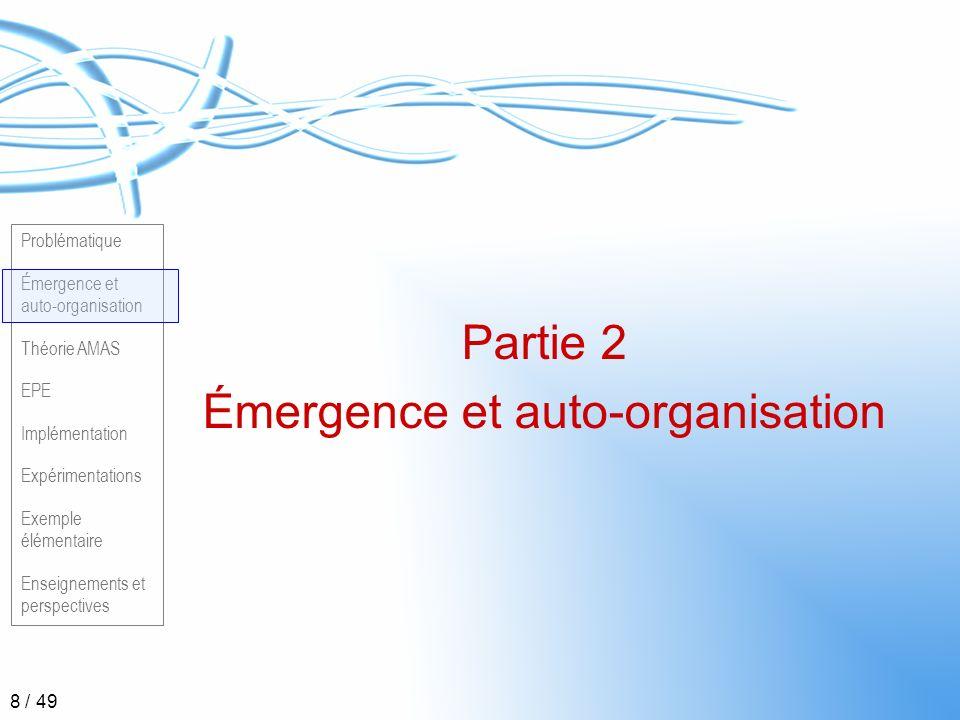 Problématique Émergence et auto-organisation Théorie AMAS EPE Implémentation Expérimentations Exemple élémentaire Enseignements et perspectives 19 / 49 Théorie AMAS (2) Adaptation par réorganisation des parties
