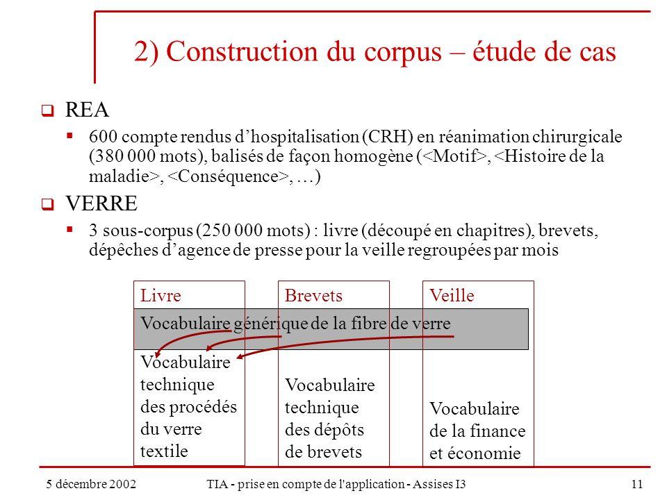 5 décembre 2002TIA - prise en compte de l application - Assises I311 2) Construction du corpus – étude de cas REA 600 compte rendus dhospitalisation (CRH) en réanimation chirurgicale (380 000 mots), balisés de façon homogène (,,, …) VERRE 3 sous-corpus (250 000 mots) : livre (découpé en chapitres), brevets, dépêches dagence de presse pour la veille regroupées par mois Vocabulaire générique de la fibre de verre Livre Vocabulaire technique des procédés du verre textile Brevets Vocabulaire technique des dépôts de brevets Veille Vocabulaire de la finance et économie