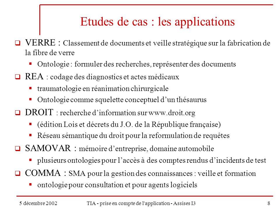 5 décembre 2002TIA - prise en compte de l application - Assises I39 Etude de cas : les applications Application de traitement de linformation textuelle.