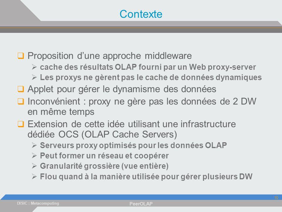 DISIC : Metacomputing PeerOLAP 10 Contexte Proposition dune approche middleware cache des résultats OLAP fourni par un Web proxy-server Les proxys ne gèrent pas le cache de données dynamiques Applet pour gérer le dynamisme des données Inconvénient : proxy ne gère pas les données de 2 DW en même temps Extension de cette idée utilisant une infrastructure dédiée OCS (OLAP Cache Servers) Serveurs proxy optimisés pour les données OLAP Peut former un réseau et coopérer Granularité grossière (vue entière) Flou quand à la manière utilisée pour gérer plusieurs DW