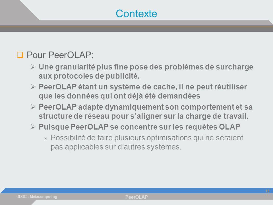DISIC : Metacomputing PeerOLAP 13 Contexte Pour PeerOLAP: Une granularité plus fine pose des problèmes de surcharge aux protocoles de publicité.