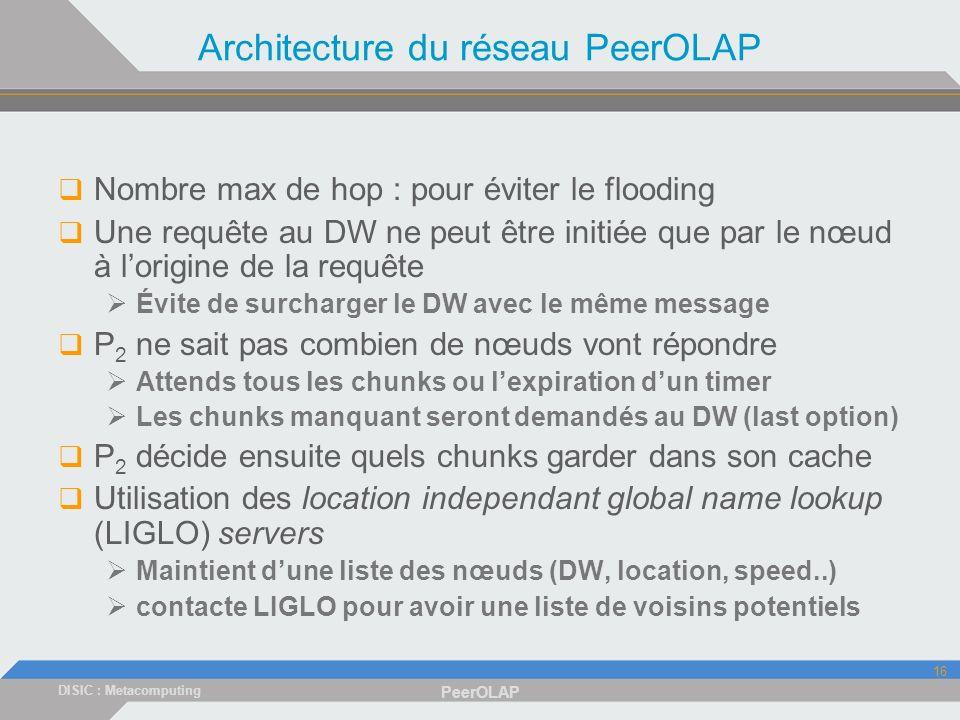 DISIC : Metacomputing PeerOLAP 16 Architecture du réseau PeerOLAP Nombre max de hop : pour éviter le flooding Une requête au DW ne peut être initiée que par le nœud à lorigine de la requête Évite de surcharger le DW avec le même message P 2 ne sait pas combien de nœuds vont répondre Attends tous les chunks ou lexpiration dun timer Les chunks manquant seront demandés au DW (last option) P 2 décide ensuite quels chunks garder dans son cache Utilisation des location independant global name lookup (LIGLO) servers Maintient dune liste des nœuds (DW, location, speed..) contacte LIGLO pour avoir une liste de voisins potentiels