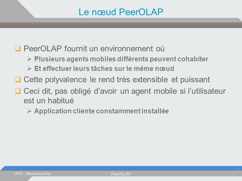 DISIC : Metacomputing PeerOLAP 19 Le nœud PeerOLAP PeerOLAP fournit un environnement où Plusieurs agents mobiles différents peuvent cohabiter Et effectuer leurs tâches sur le même nœud Cette polyvalence le rend très extensible et puissant Ceci dit, pas obligé davoir un agent mobile si lutilisateur est un habitué Application cliente constamment installée