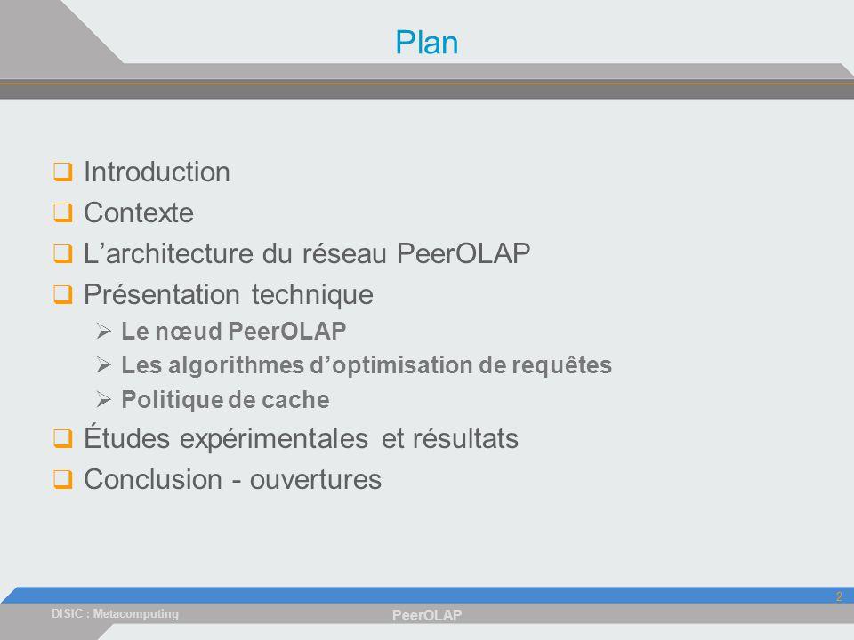 DISIC : Metacomputing PeerOLAP 2 Plan Introduction Contexte Larchitecture du réseau PeerOLAP Présentation technique Le nœud PeerOLAP Les algorithmes doptimisation de requêtes Politique de cache Études expérimentales et résultats Conclusion - ouvertures