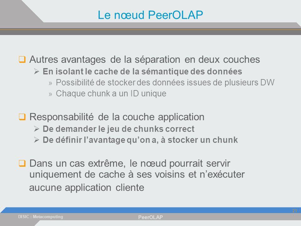 DISIC : Metacomputing PeerOLAP 21 Le nœud PeerOLAP Autres avantages de la séparation en deux couches En isolant le cache de la sémantique des données » Possibilité de stocker des données issues de plusieurs DW » Chaque chunk a un ID unique Responsabilité de la couche application De demander le jeu de chunks correct De définir lavantage quon a, à stocker un chunk Dans un cas extrême, le nœud pourrait servir uniquement de cache à ses voisins et nexécuter aucune application cliente