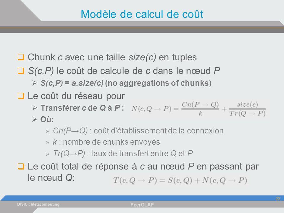 DISIC : Metacomputing PeerOLAP 22 Modèle de calcul de coût Chunk c avec une taille size(c) en tuples S(c,P) le coût de calcule de c dans le nœud P S(c,P) = a.size(c) (no aggregations of chunks) Le coût du réseau pour Transférer c de Q à P : Où: » Cn(PQ) : coût détablissement de la connexion » k : nombre de chunks envoyés » Tr(QP) : taux de transfert entre Q et P Le coût total de réponse à c au nœud P en passant par le nœud Q:
