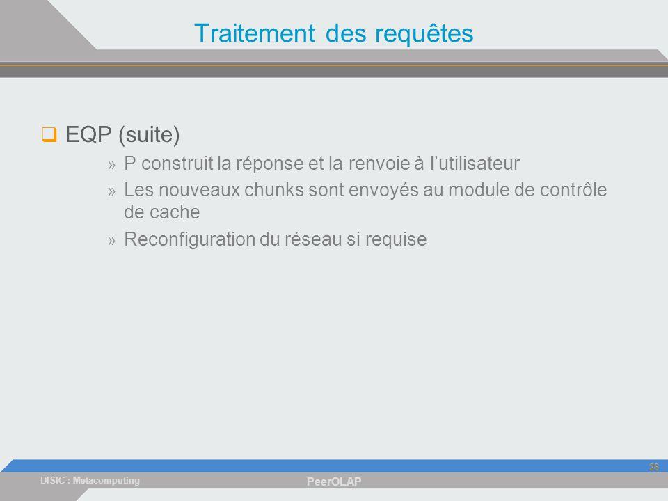 DISIC : Metacomputing PeerOLAP 26 Traitement des requêtes EQP (suite) » P construit la réponse et la renvoie à lutilisateur » Les nouveaux chunks sont envoyés au module de contrôle de cache » Reconfiguration du réseau si requise