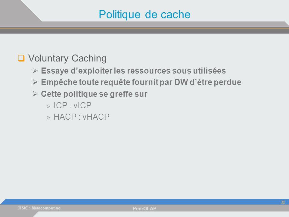 DISIC : Metacomputing PeerOLAP 32 Politique de cache Voluntary Caching Essaye dexploiter les ressources sous utilisées Empêche toute requête fournit par DW dêtre perdue Cette politique se greffe sur » ICP : vICP » HACP : vHACP