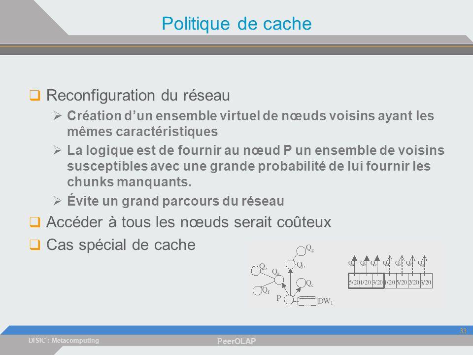 DISIC : Metacomputing PeerOLAP 33 Politique de cache Reconfiguration du réseau Création dun ensemble virtuel de nœuds voisins ayant les mêmes caractéristiques La logique est de fournir au nœud P un ensemble de voisins susceptibles avec une grande probabilité de lui fournir les chunks manquants.