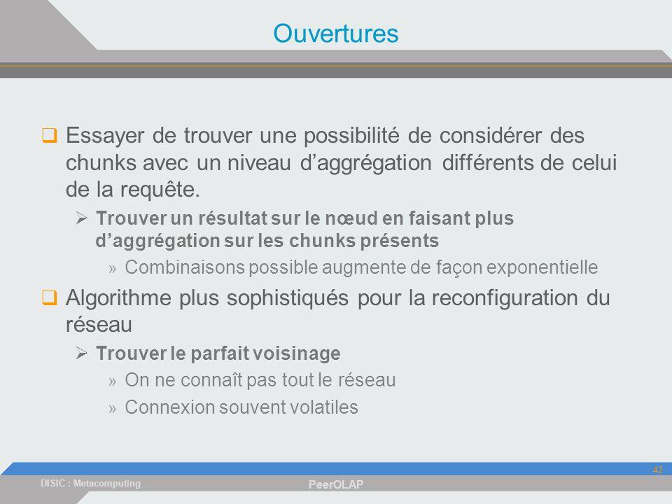 DISIC : Metacomputing PeerOLAP 42 Ouvertures Essayer de trouver une possibilité de considérer des chunks avec un niveau daggrégation différents de celui de la requête.