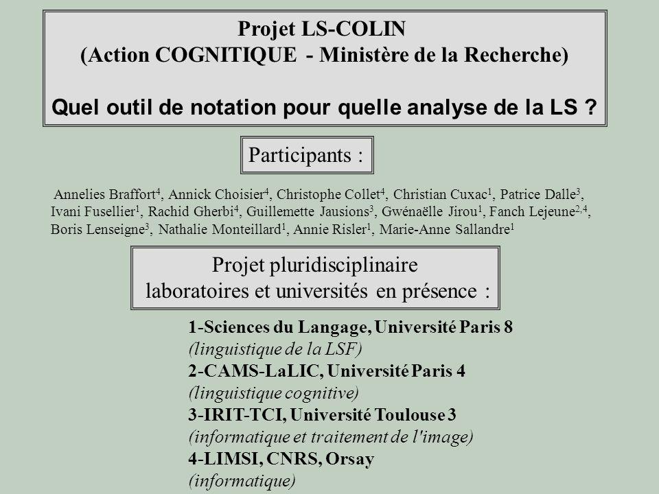 Projet LS-COLIN (Action COGNITIQUE - Ministère de la Recherche) Quel outil de notation pour quelle analyse de la LS ? Participants : Annelies Braffort