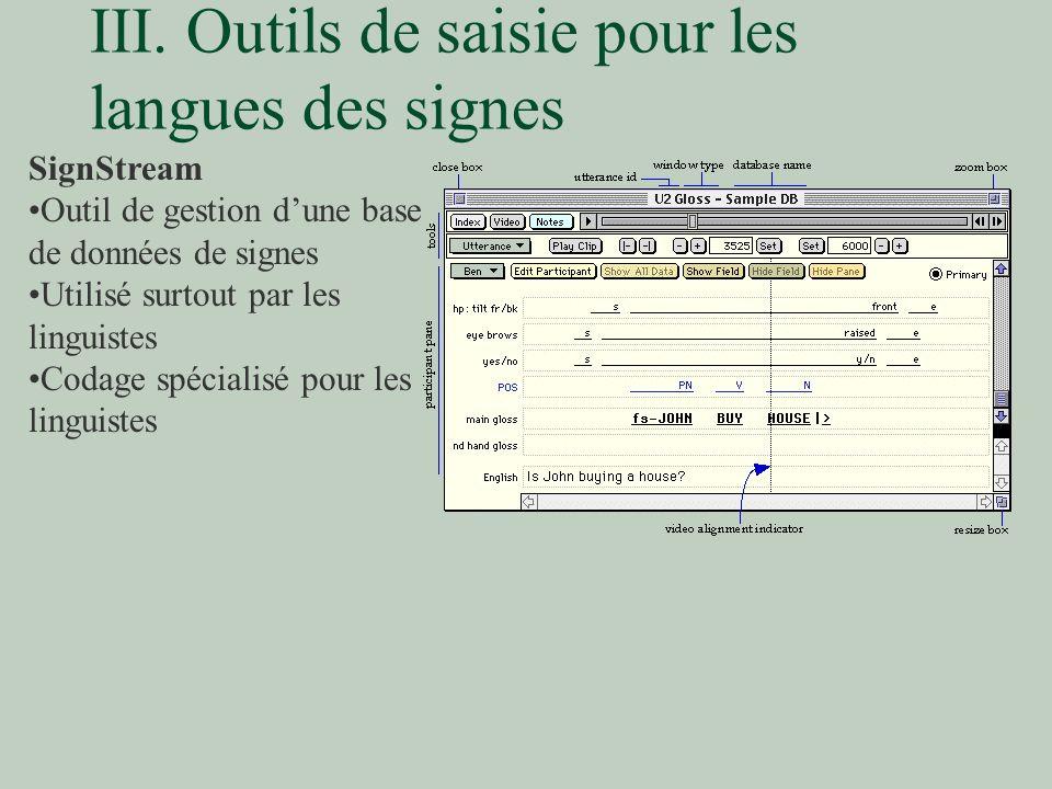 III. Outils de saisie pour les langues des signes SignStream Outil de gestion dune base de données de signes Utilisé surtout par les linguistes Codage