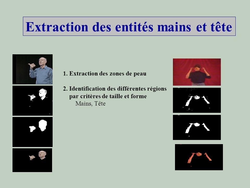 Extraction des entités mains et tête 1. Extraction des zones de peau 2. Identification des différentes régions par critères de taille et forme Mains,